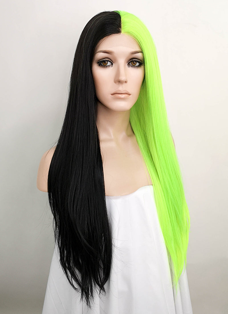 Black Green Split Color Straight Lace Front Synthetic Wig LF1749