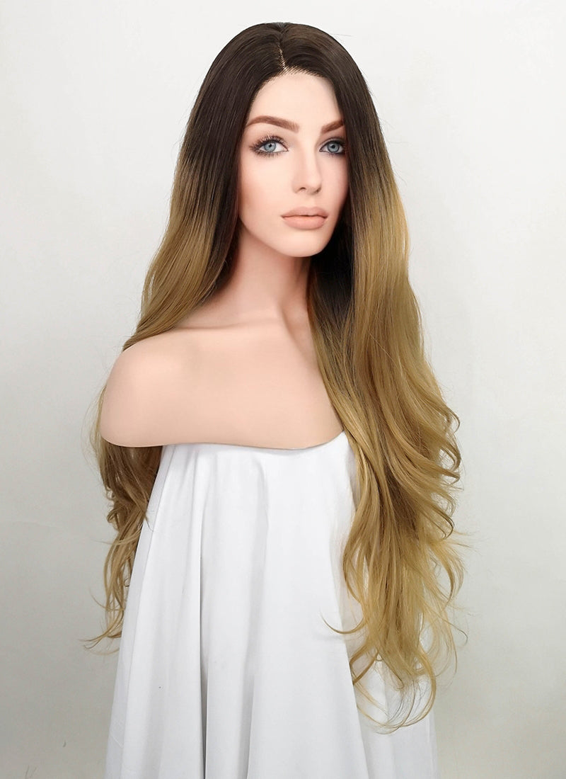 Blonde With Dark Roots Wavy Lace Front Synthetic Wig LF1773