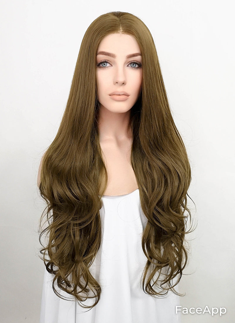 Brown Wavy Lace Front Synthetic Wig LF1775