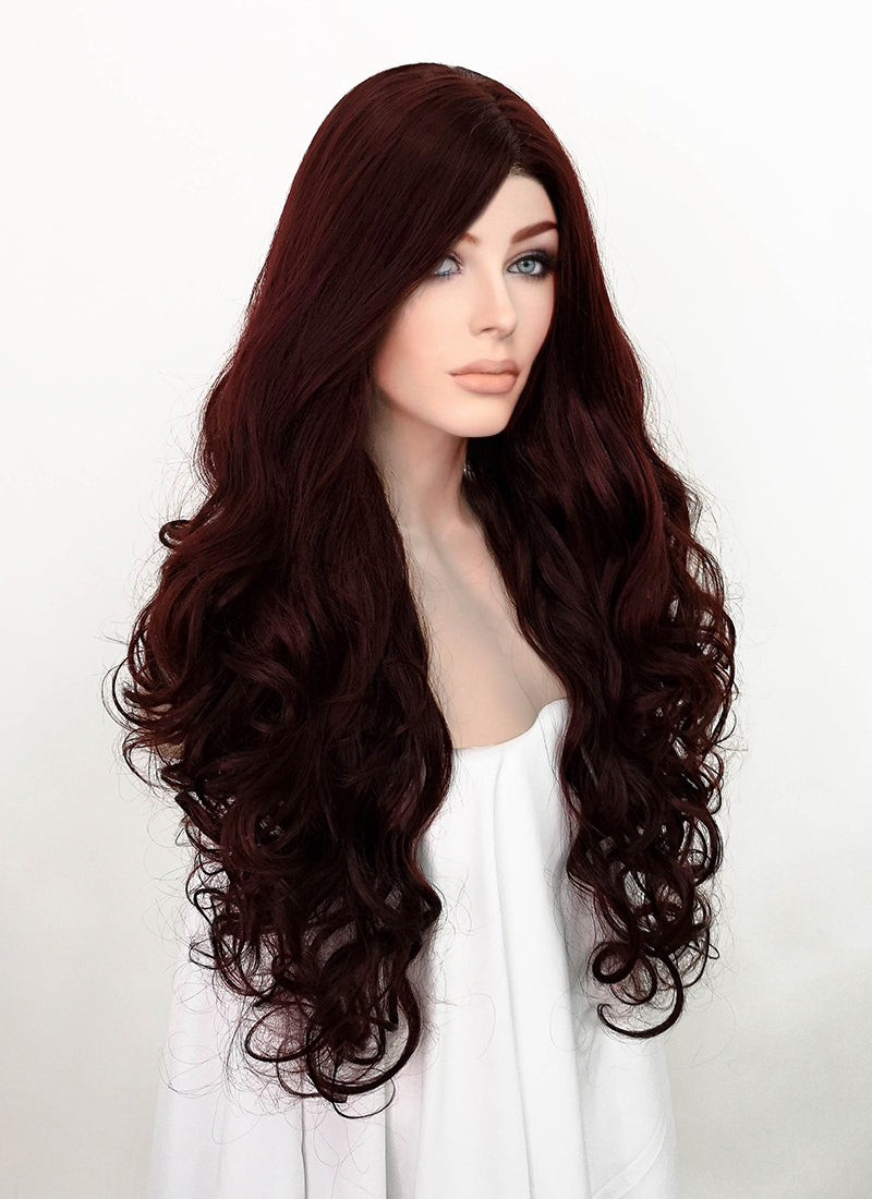 Dark Red Wavy Lace Front Synthetic Wig LF1777