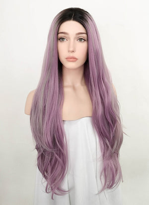 Purple Mixed Grey With Dark Roots Wavy Lace Front Synthetic Wig LF1782