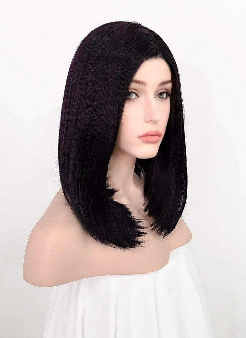 Dark Purple Mixed Black Straight Bob Lace Front Synthetic Wig LF1783