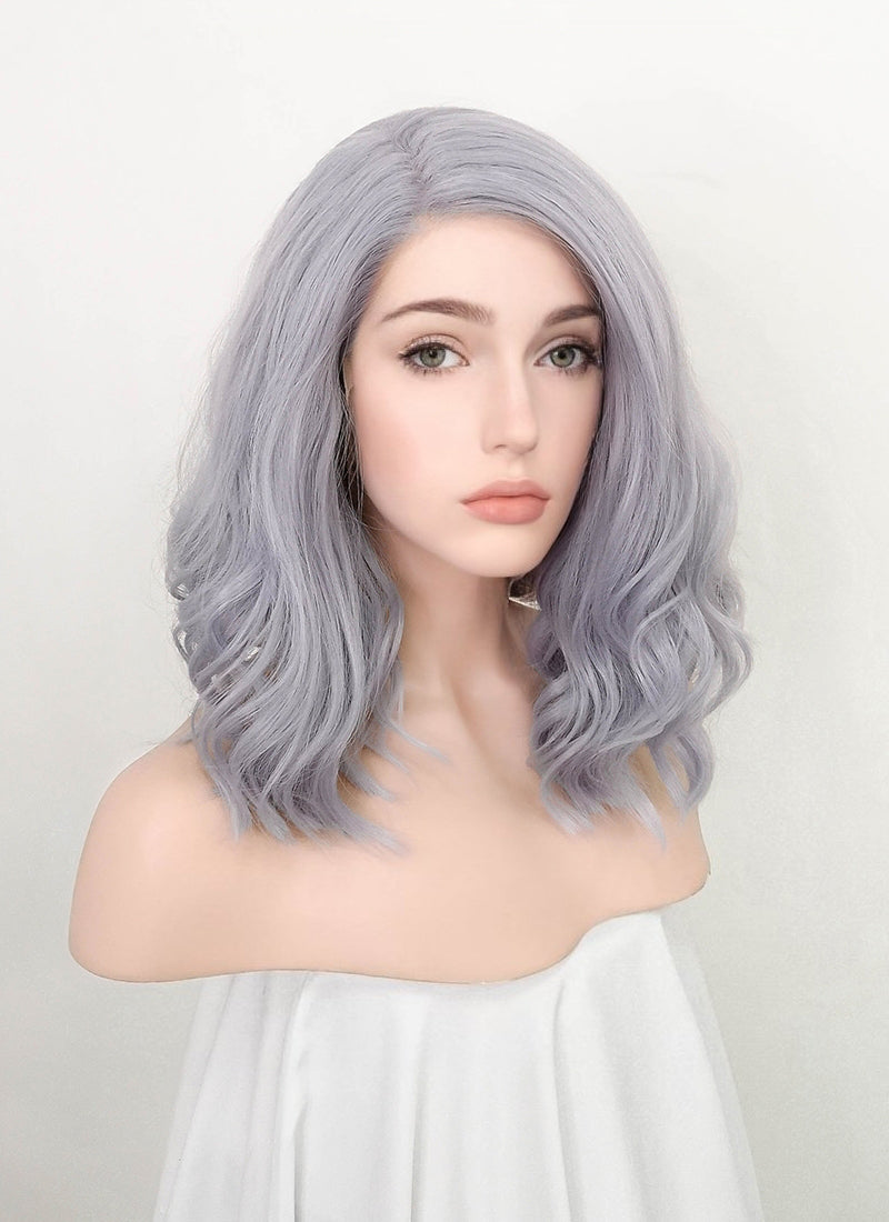 Pastel Grey Wavy Bob Lace Front Synthetic Wig LF1785