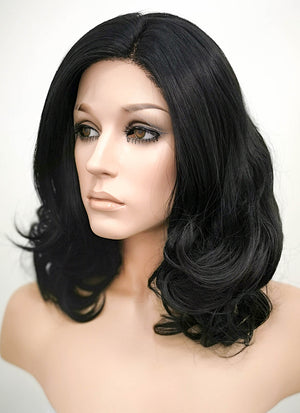 Natural Black Wavy Bob Lace Front Synthetic Wig LF198 - Wig Is Fashion Australia
