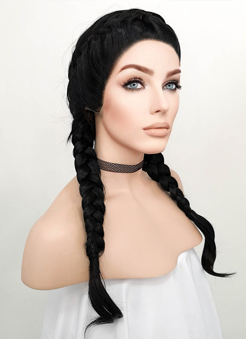 Black French Braid Lace Front Synthetic Wig LF2006 - Wig Is Fashion Australia