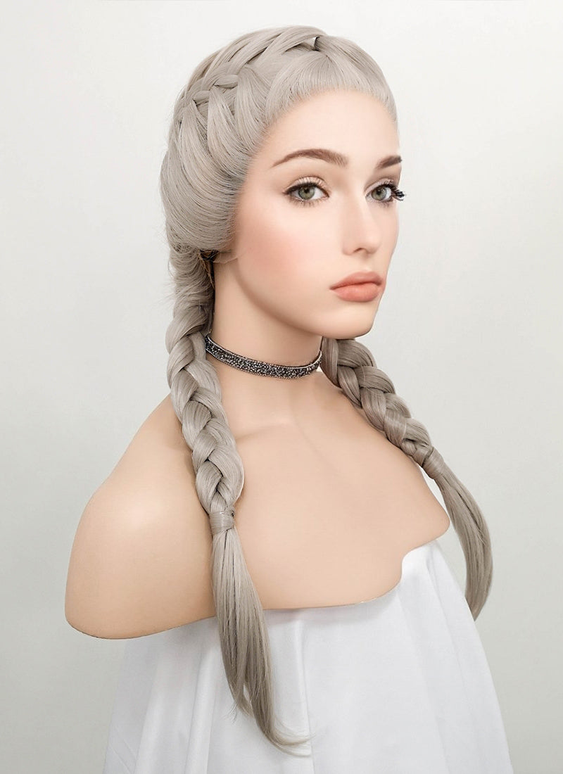 Grey French Braid Lace Front Synthetic Wig LF2022 - Wig Is Fashion Australia