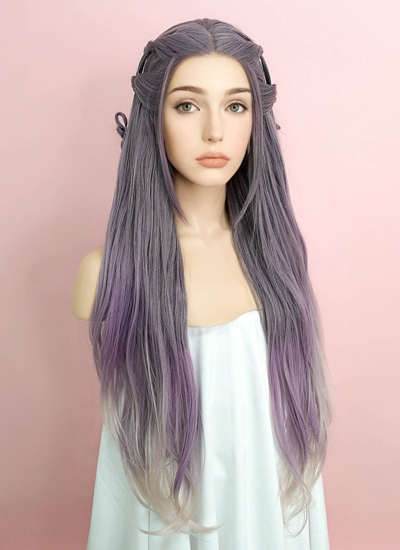 Purple Grey Ombre Braided Lace Front Synthetic Wig LF2052 - Wig Is Fashion Australia