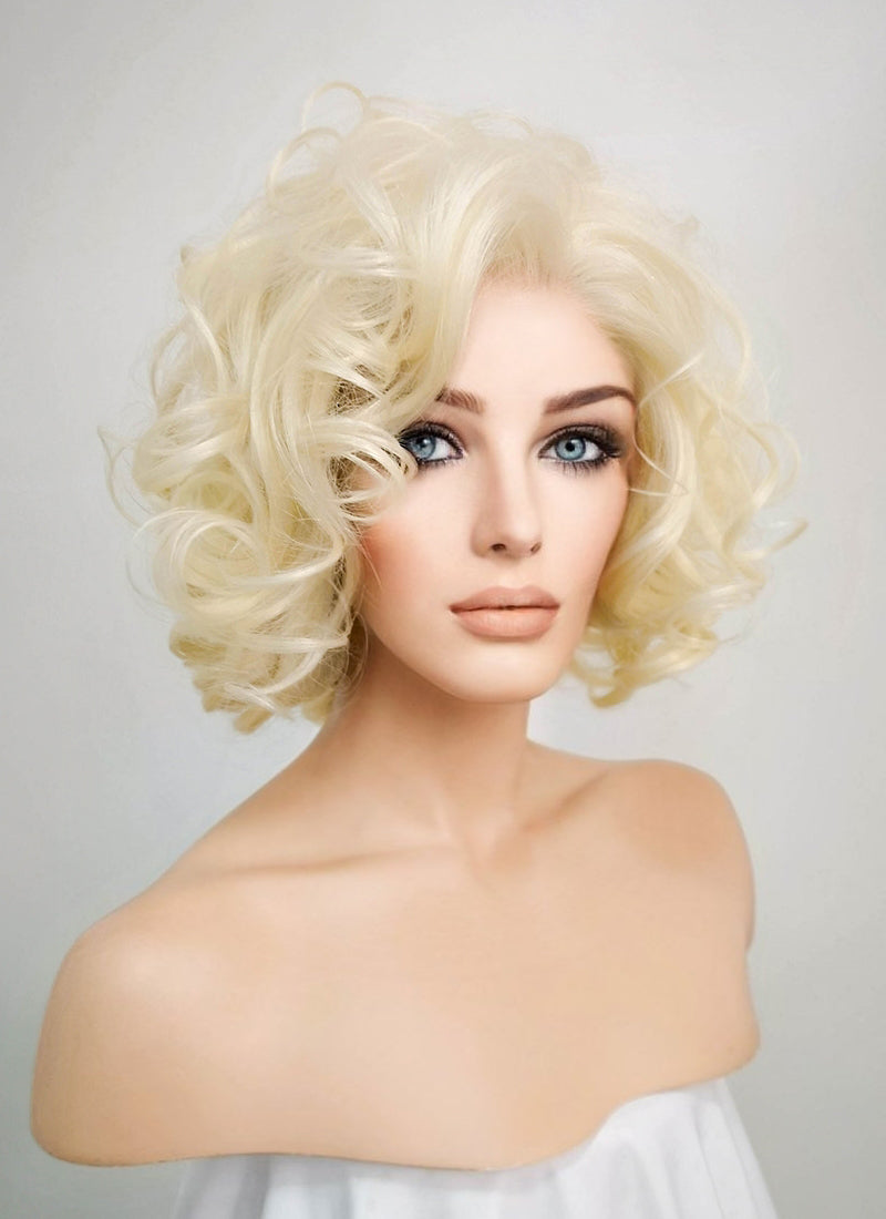 Light Blonde Wavy Bob Lace Front Synthetic Wig LF235 - Wig Is Fashion Australia