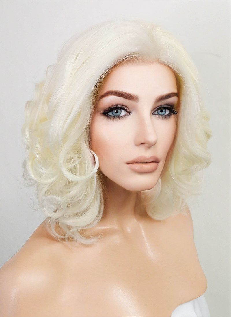 Light Blonde Wavy Bob Lace Front Synthetic Wig LF250