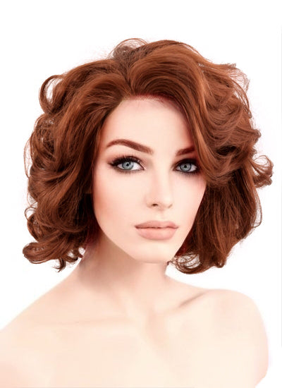 Auburn Wavy Bob Lace Front Synthetic Wig LF253 - Wig Is Fashion Australia
