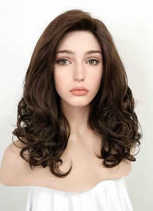 Brunette Wavy Bob Lace Front Synthetic Wig LF256 - Wig Is Fashion Australia