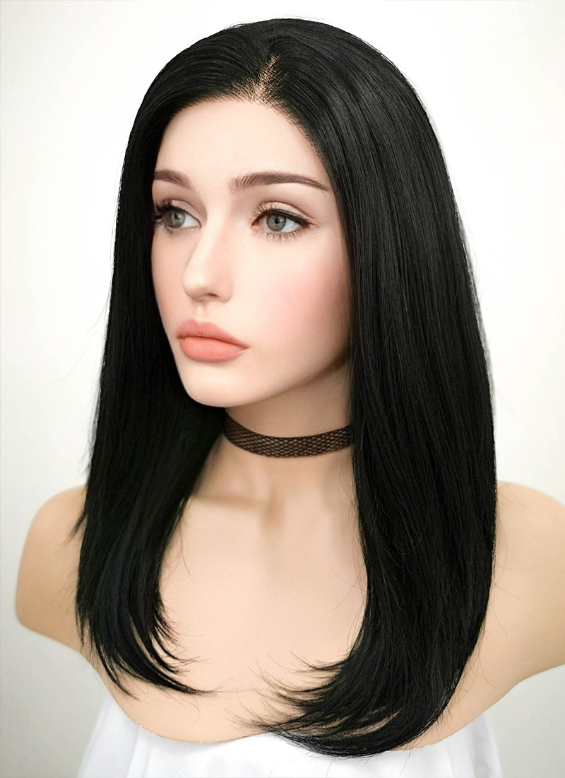 Jet Black Straight Bob Lace Front Synthetic Wig LF262 - Wig Is Fashion Australia