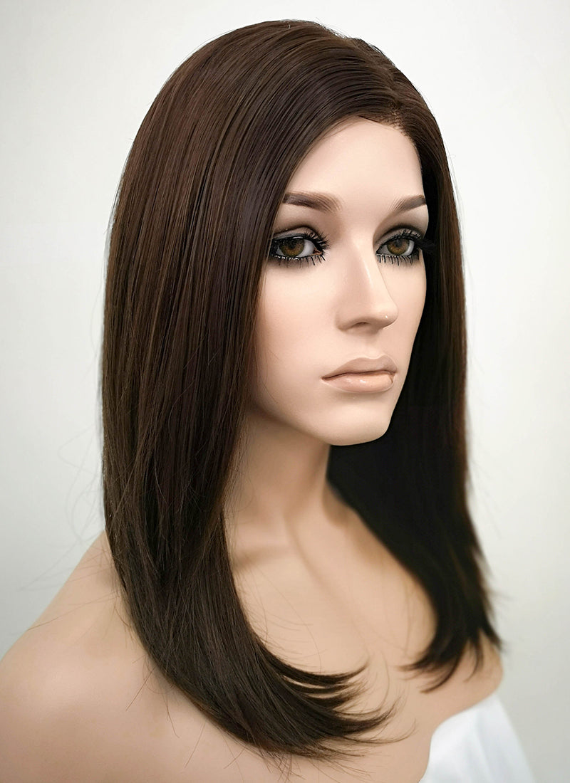 Brunette Straight Bob Lace Front Synthetic Wig LF265 - Wig Is Fashion Australia