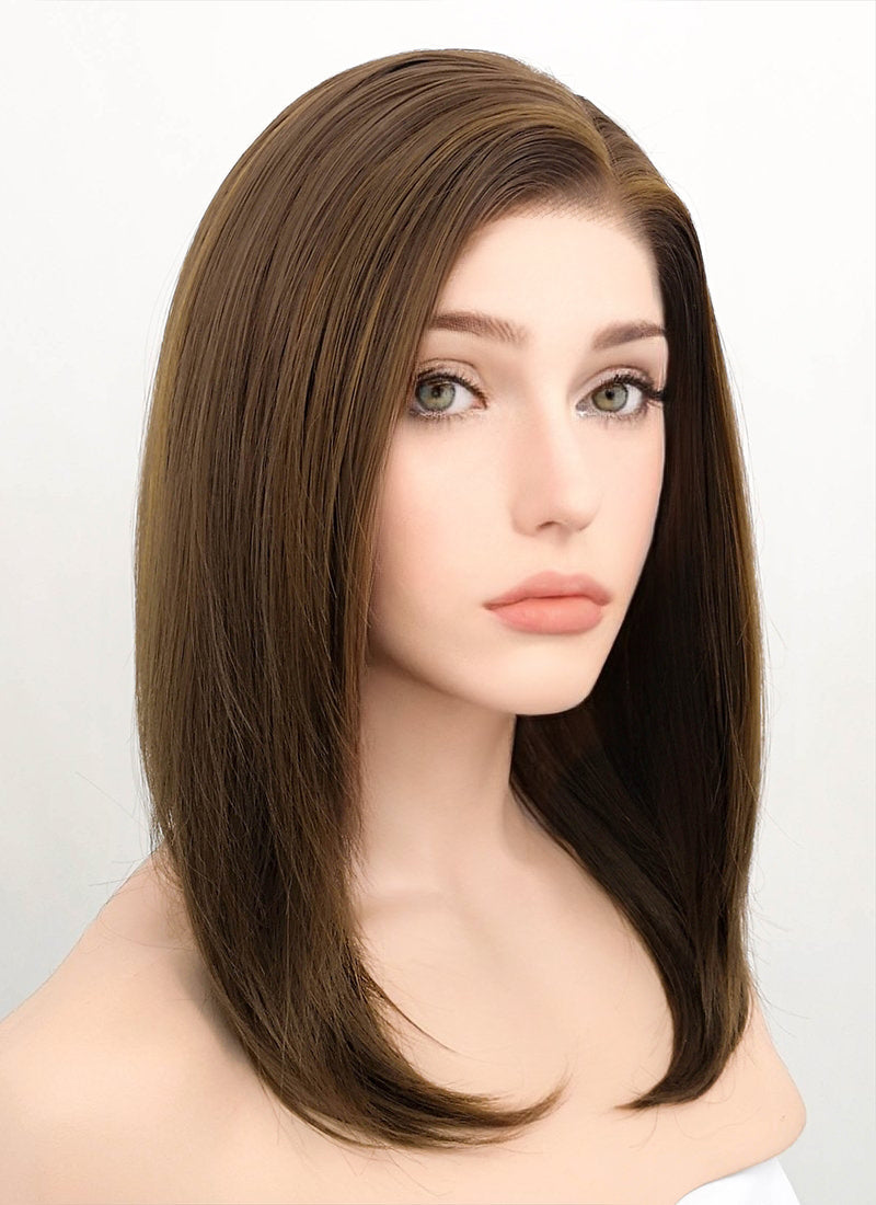 Brunette Straight Bob Lace Front Synthetic Wig LF268 - Wig Is Fashion Australia