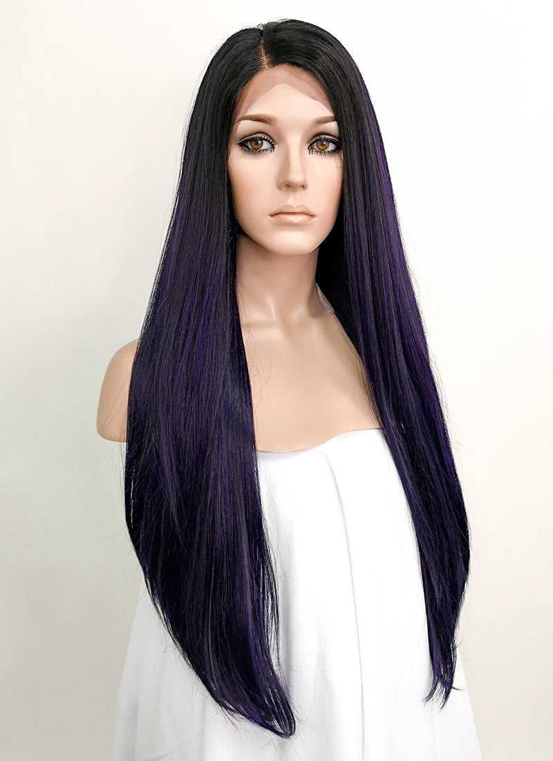 Dark Purple With Dark Roots Straight Lace Front Synthetic Wig LF3135 - Wig Is Fashion Australia