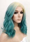 Blue With Blonde Roots Wavy Bob Lace Front Synthetic Wig LF3136