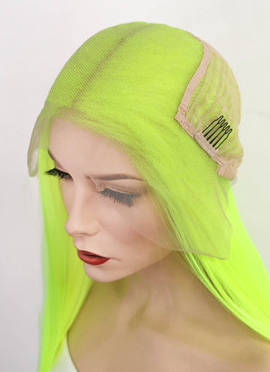 "Neon Yellow Straight 13"" x 6"" Lace Front Synthetic Wig LF3143"