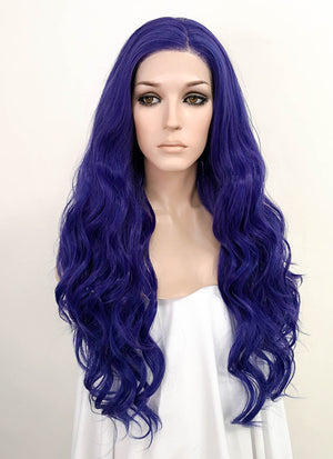 Dark Blue Wavy Lace Front Synthetic Wig LF3152