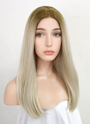 Two Tone Blonde Straight Lace Front Synthetic Wig LF3156