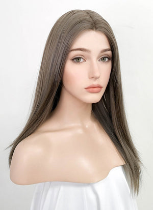Mixed Grey Straight Lace Front Synthetic Wig LF3166