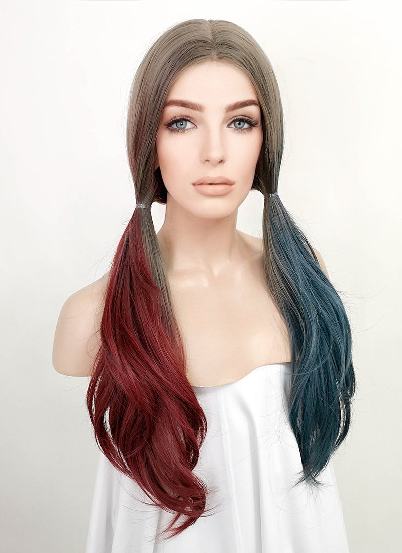 Mixed Grey Red Blue Split Color Straight Lace Front Synthetic Wig LF3167