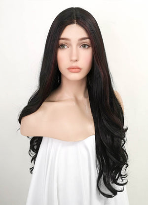 Black Mixed Brown Wavy Lace Front Synthetic Wig LF3169