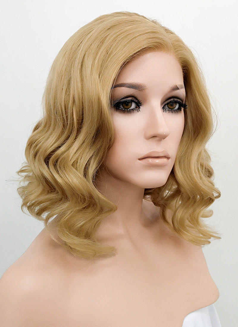 Medium Blonde Wavy Bob Lace Front Synthetic Wig LF326 - Wig Is Fashion Australia