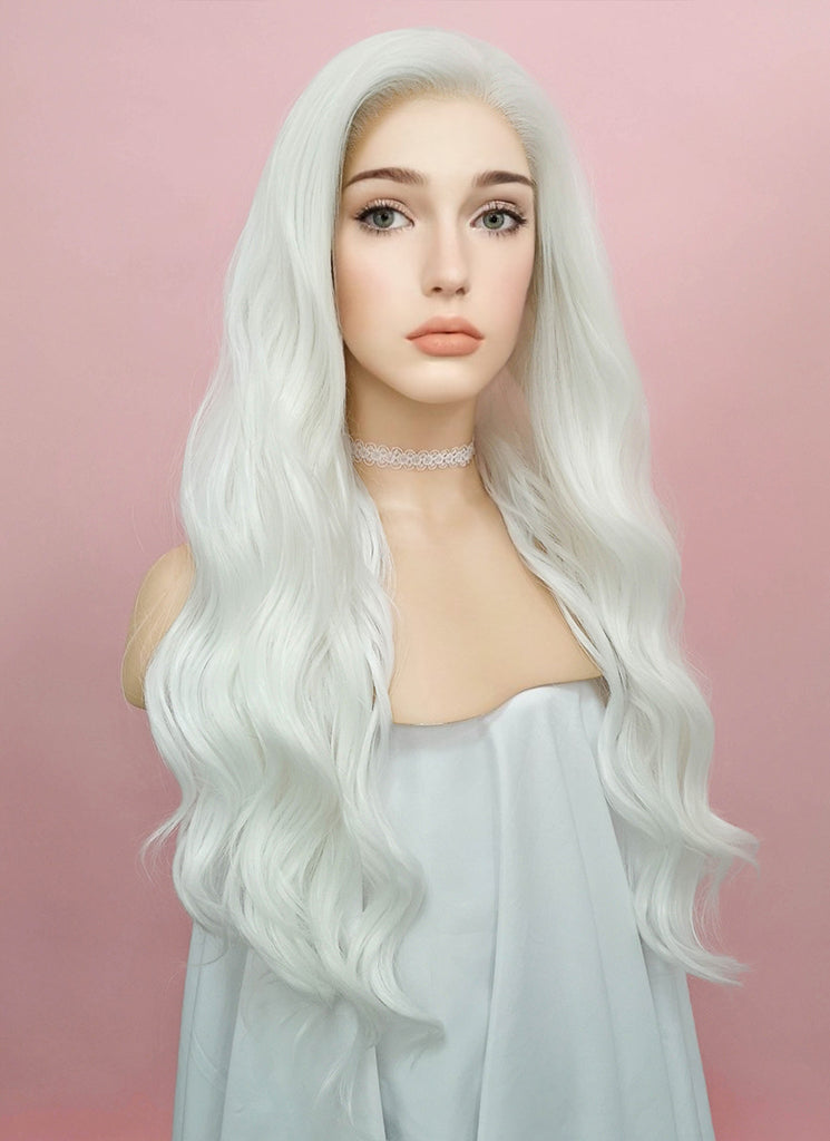 "24"" Wavy White Lace Front Synthetic Wig LF388 - Wig Is Fashion Australia"