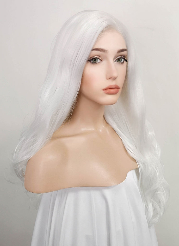 "24"" Wavy White Lace Front Synthetic Wig LF389 - Wig Is Fashion Australia"