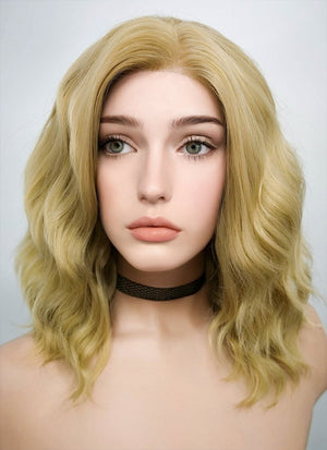 Blonde Wavy Bob Lace Front Synthetic Wig LF418 - Wig Is Fashion Australia