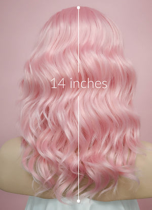 Pastel Pink Wavy Bob Lace Front Synthetic Wig LF440 - Wig Is Fashion Australia