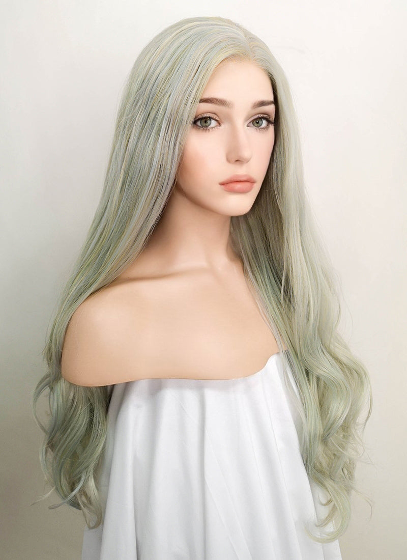Pastel Green Wavy Lace Front Synthetic Wig LF5009