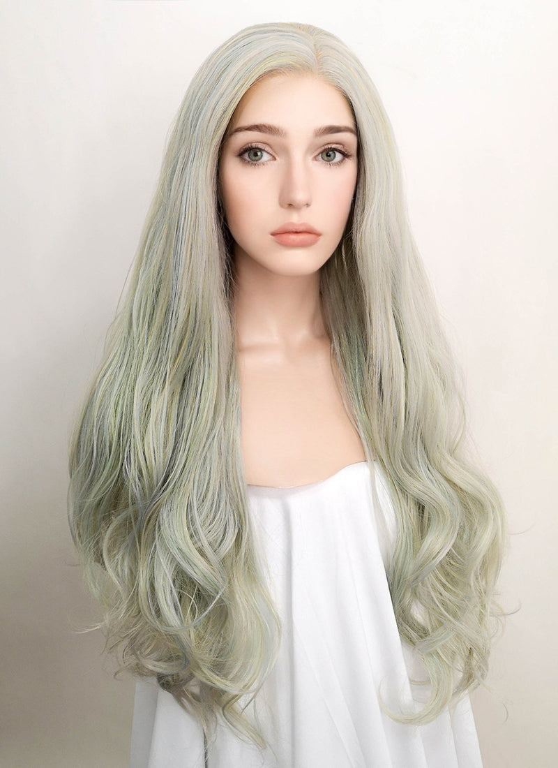 Pastel Grey Wavy Lace Front Synthetic Wig LF5009