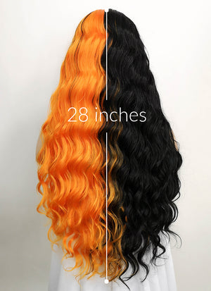 Black Orange Split Color Wavy Lace Front Synthetic Wig LF5011