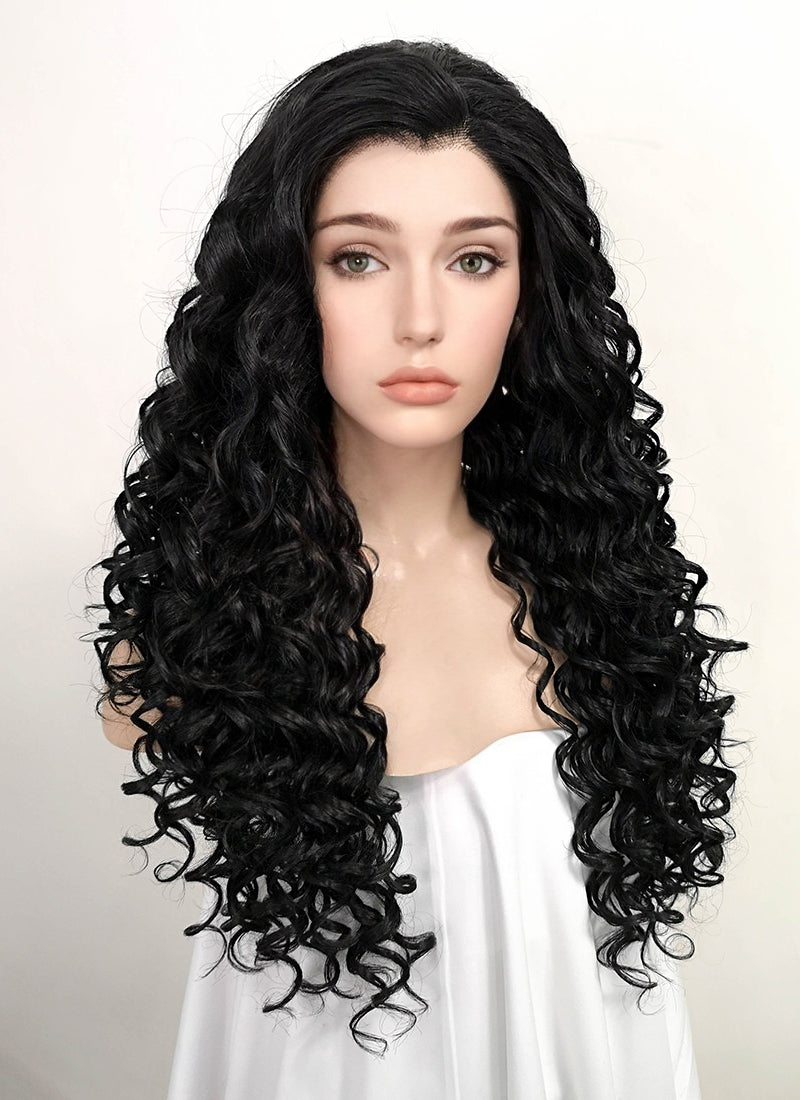 Black Curly Lace Front Synthetic Wig LF5026