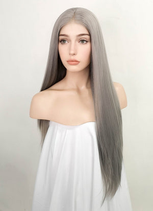 Pastel Grey Straight Lace Front Synthetic Wig LF5044