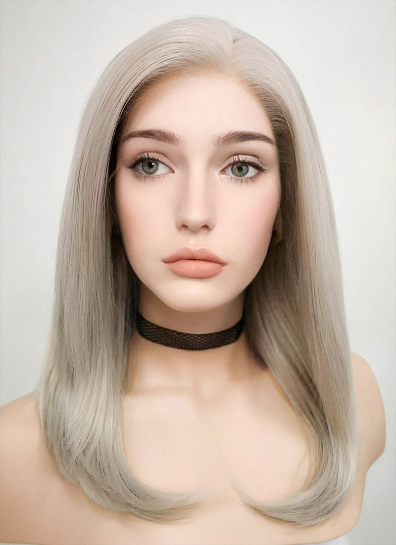 Pastel Grey Blonde Straight Bob Lace Front Synthetic Wig LF509 - Wig Is Fashion Australia
