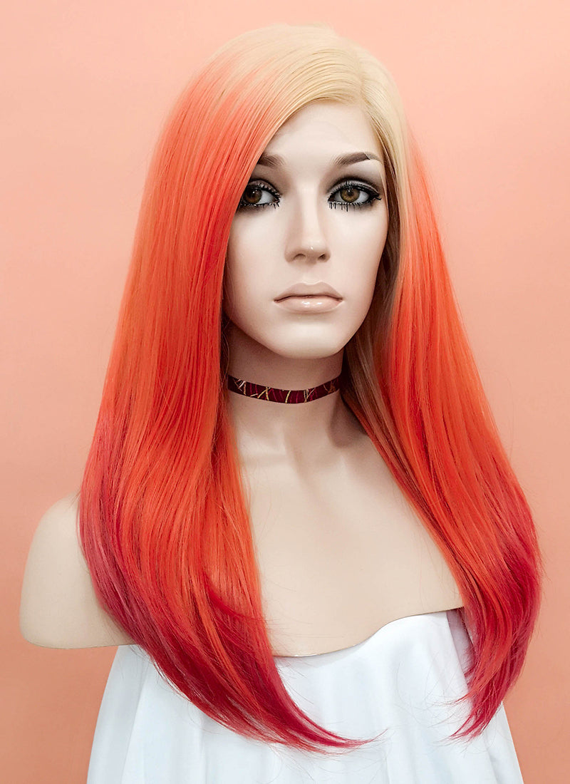 Orange Red Ombre With Blonde Roots Straight Lace Front Synthetic Wig LF510