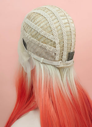 Orange Red Ombre With Blonde Roots Straight Lace Front Synthetic Wig LF510 - Wig Is Fashion Australia