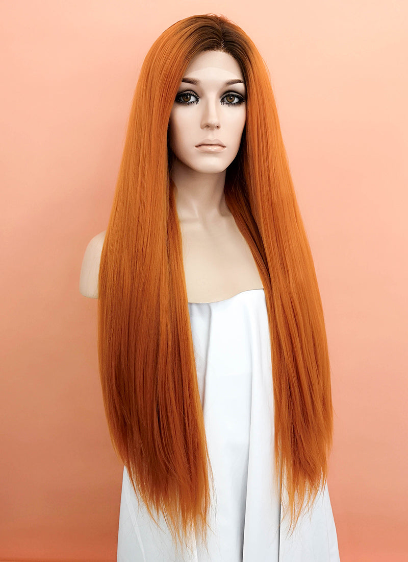 Light Auburn With Dark Roots Straight Yaki Lace Front Synthetic Wig LF624Q - Wig Is Fashion Australia