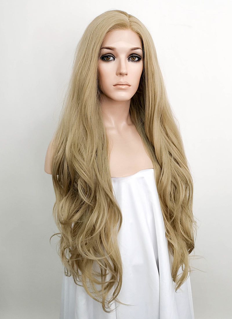 Ash Blonde Wavy Lace Front Synthetic Wig LF640A - Wig Is Fashion Australia
