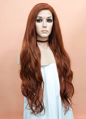 Auburn Wavy Lace Front Synthetic Wig LF640C - Wig Is Fashion Australia