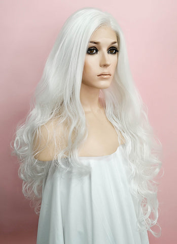 Straight Platinum Blonde Lace Front Synthetic Wig LF150D
