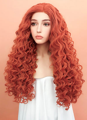 Orange Red Spiral Curly Lace Front Synthetic Wig LF663J - Wig Is Fashion Australia