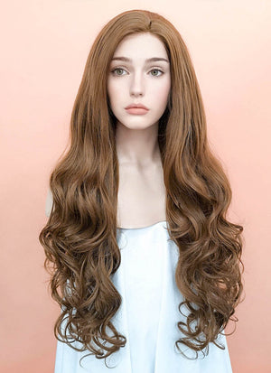 Chestnut Brown Wavy Lace Front Synthetic Wig LF667J - Wig Is Fashion Australia