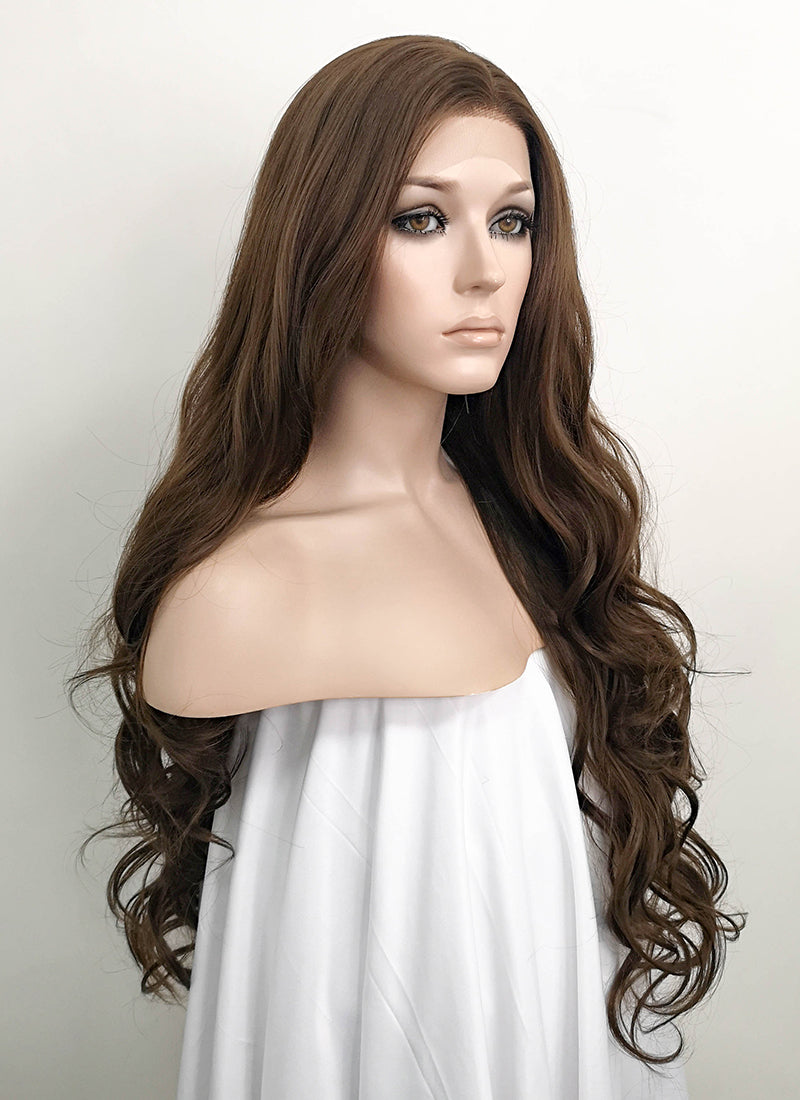 Brunette Wavy Lace Front Synthetic Wig LF694 - Wig Is Fashion Australia