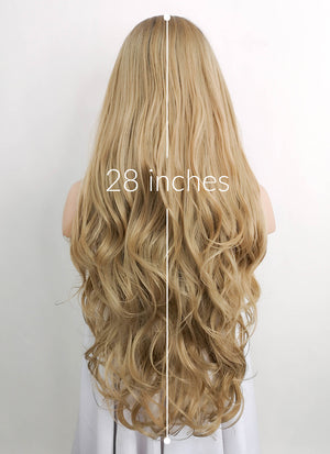 Ash Blonde With Dark Roots Wavy Lace Front Synthetic Wig LF697 - Wig Is Fashion Australia