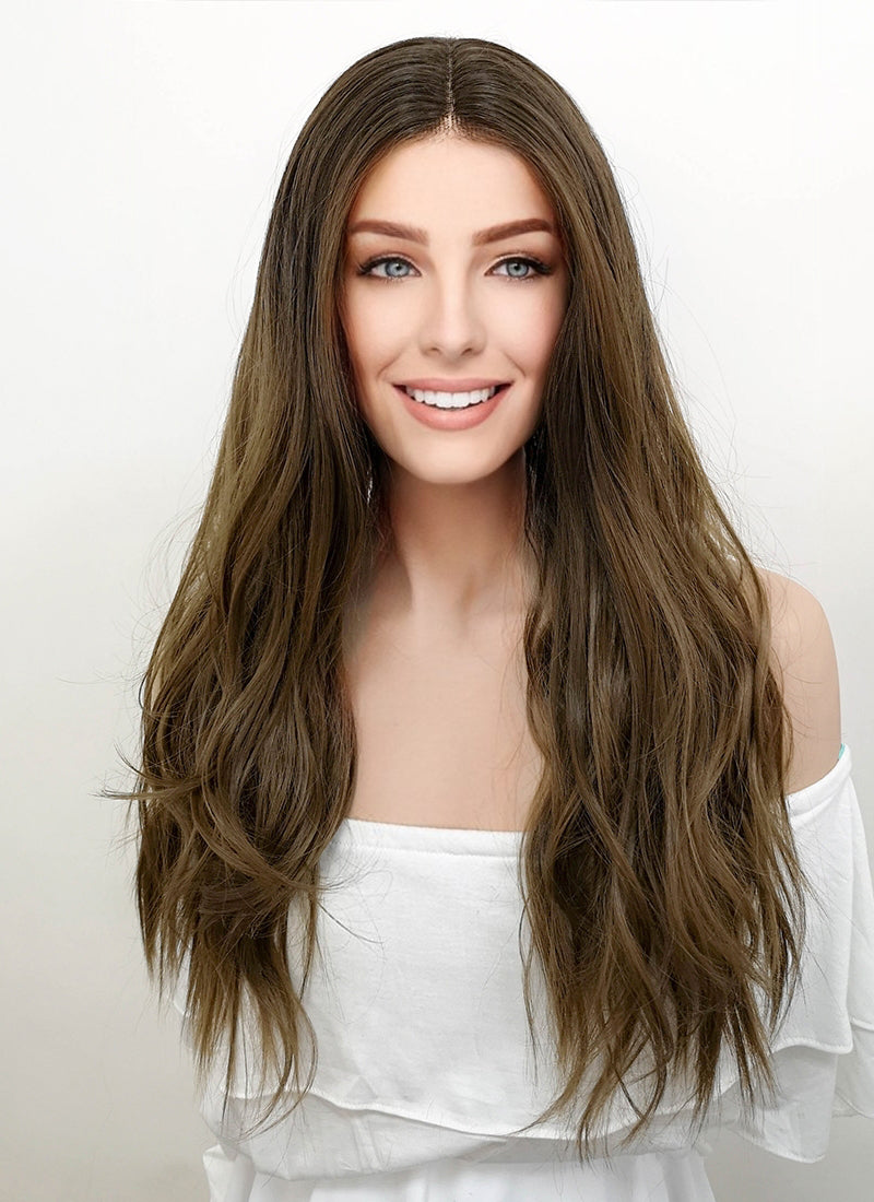 Two Tone Brunette Wavy Lace Front Synthetic Wig LF7001