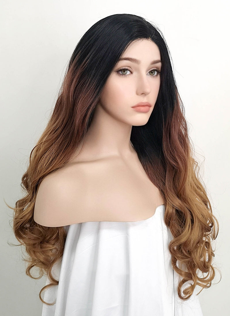Two Tone Brown With Dark Roots Wavy Lace Front Synthetic Wig LF712 - Wig Is Fashion Australia