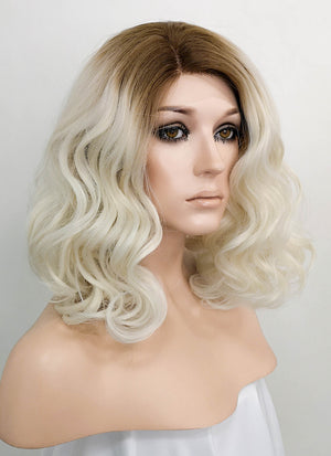 Light Blonde With Dark Roots Wavy Bob Lace Front Synthetic Wig LF771M - Wig Is Fashion Australia